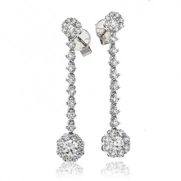 Diamond Cluster Drop Earrings 1.35ct, 18k White Gold