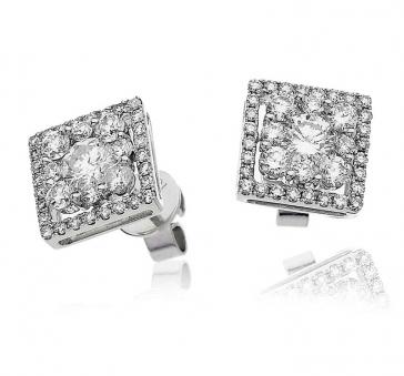 Diamond Cluster Earrings 1.50ct, 18k White Gold
