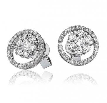 Diamond Cluster Halo Earrings 1.00ct, 18k White Gold