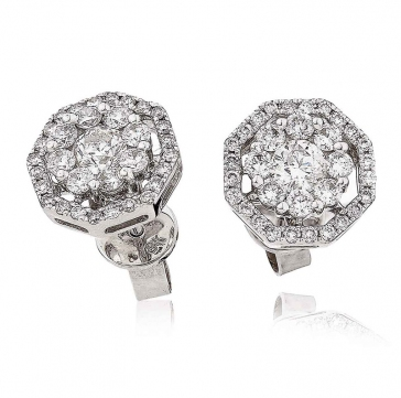 Diamond Cluster Halo Earrings 1.00ct, 18k White Gold