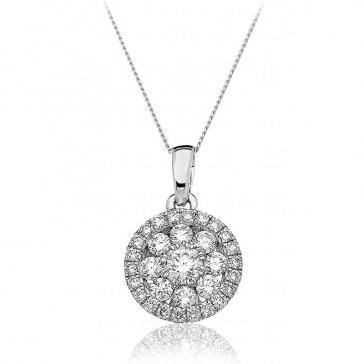 Diamond Cluster Halo Necklace 0.70ct, 18k White Gold