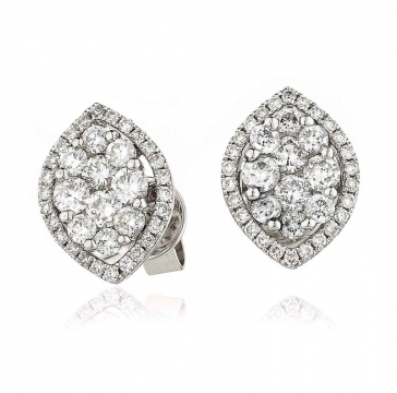 Diamond Cluster Marquise Earrings 0.90ct, 18k White Gold