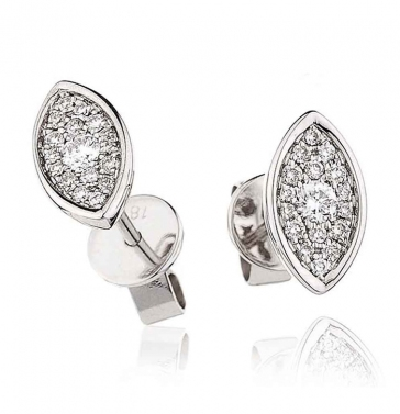 Diamond Cluster Marquise Earrings with Bezel 0.25ct, 18k White Gold