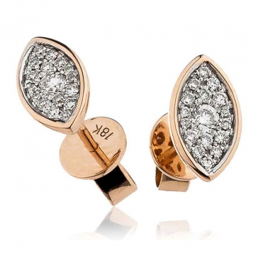 Diamond Cluster Marquise Earrings with Bezel 0.25ct, 18k Rose Gold