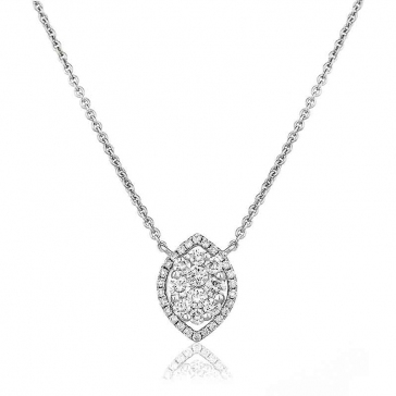 Diamond Cluster Marquise Necklace 0.45ct, 18k White Gold