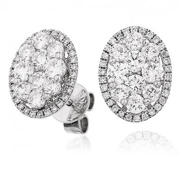 Diamond Cluster Oval Earrings 1.50ct, 18k White Gold