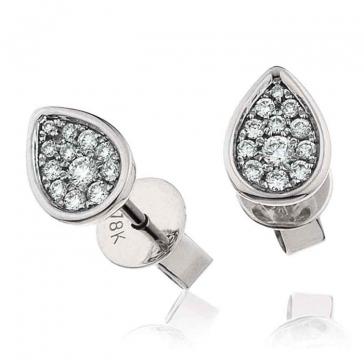 Diamond Cluster Pear Earrings with Bezel 0.20ct, 18k White Gold
