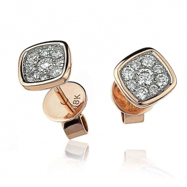 Diamond Cluster Square Earrings with Bezel 0.20ct, 18k Rose Gold