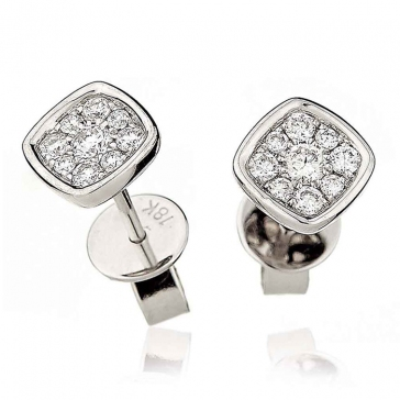 Diamond Cluster Square Earrings with Bezel 0.20ct, 18k White Gold
