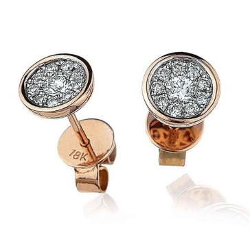 Diamond Cluster Stud Earrings with Bezel 0.30ct, 18k Rose Gold