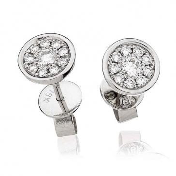 Diamond Cluster Stud Earrings with Bezel 0.30ct, 18k White Gold