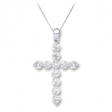 Diamond Cross Necklace 0.70ct, 18k White Gold