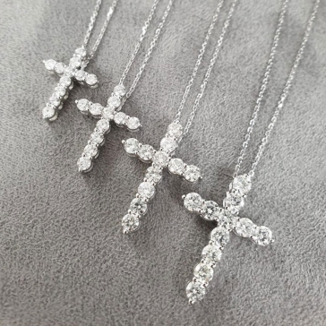 Diamond Cross Necklace 18k White Gold, Variable Sizes