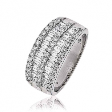 Diamond Double Baguette Ring 1.10ct, 18k White Gold
