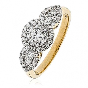 Diamond Double Halo Engagement Ring 0.80ct, 18k Gold