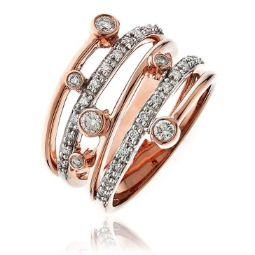 Diamond Dress/Cocktail Ring 0.40ct, 18k Rose Gold