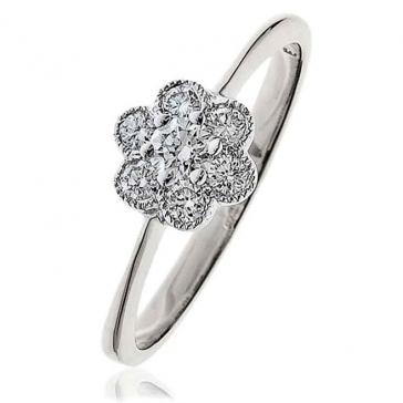 Diamond Flower Cluster Ring 0.30ct, 18k White Gold