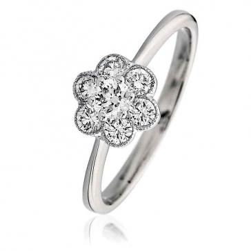 Diamond Flower Cluster Ring 0.50ct, 18k White Gold
