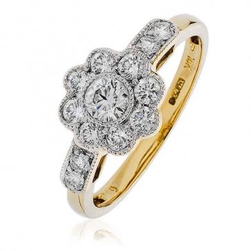 Diamond Flower Cluster Ring 0.70ct, 18k Gold