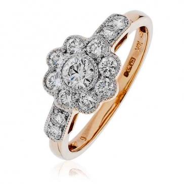 Diamond Flower Cluster Ring 0.70ct, 18k Rose Gold