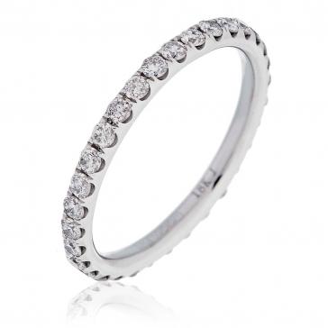 Diamond Full Eternity Ring 0.75ct, 18k White Gold