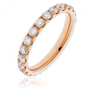 Diamond Full Eternity Ring 1.50ct, 18k Rose Gold