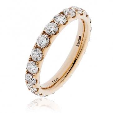 Diamond Full Eternity Ring 2.00ct, 18k Rose Gold