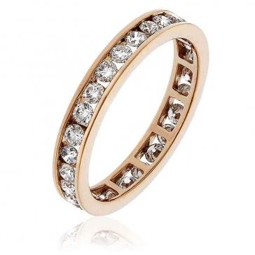 Diamond Full Eternity Ring Channel Set 1.00ct, 18k Rose Gold