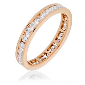 Diamond Full Eternity Ring Channel Set 1.50ct, 18k Rose Gold