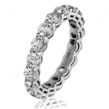 Diamond Full Eternity Ring Claw Set 3.50ct, 18k White Gold