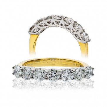 Diamond Half Eternity 7 Stone Ring 2.00ct, 18k Gold