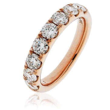 Diamond Half Eternity Ring 1.50ct, 18k Rose Gold