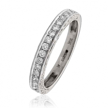 Diamond Half Eternity Ring with Millgrain 0.30ct, 18k White Gold