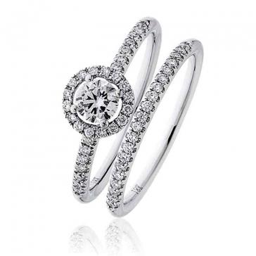 Diamond Halo Bridal Ring Set 0.60ct, 18k White Gold