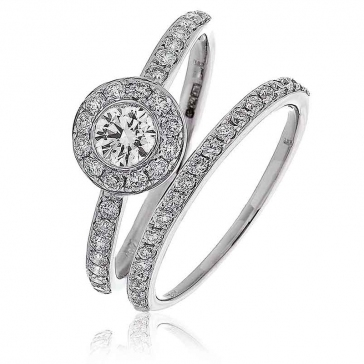 Diamond Halo Bridal Ring Set 0.65ct, 18k White Gold
