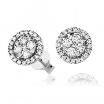 Diamond Halo Cluster Stud Earrings 0.70ct, 18k White Gold
