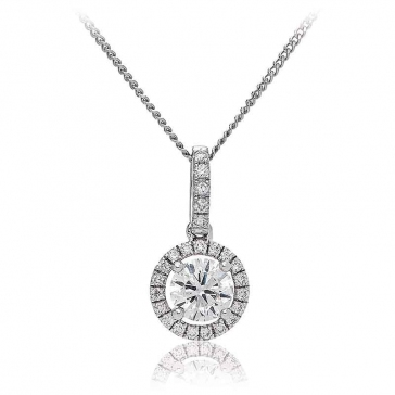 Diamond Halo Pendant Necklace 0.65ct, 18k White Gold