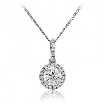 Diamond Halo Pendant Necklace 0.85ct, 18k White Gold