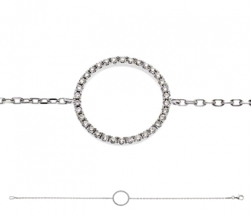 Diamond Halo Pendant Bracelet 0.15ct, 18k White Gold