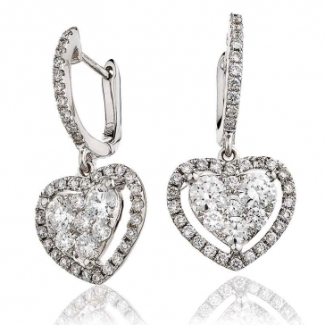 Diamond Heart Drop Earrings 1.40ct, 18k White Gold