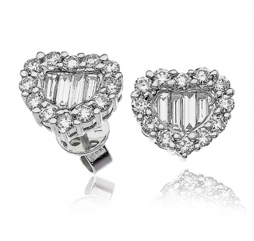 Diamond Heart Earrings with Baguettes 1.00ct, 18k White Gold