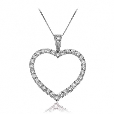 Diamond Heart Pendant Necklace 1.20ct, 18k White Gold