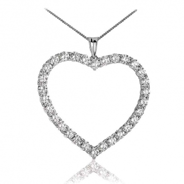 Diamond Heart Pendant Necklace 4.20ct, 18k White Gold