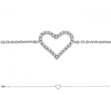 Diamond Heart Pendant Bracelet 0.12ct, 18k White Gold