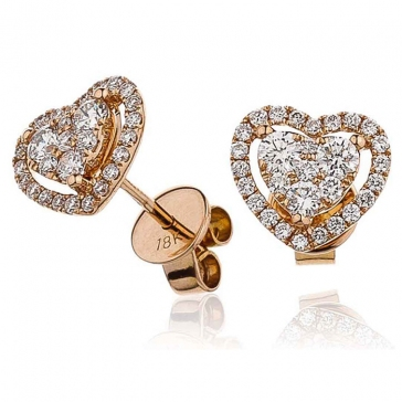 Diamond Heart Stud Earrings 0.65ct, 18k Rose Gold