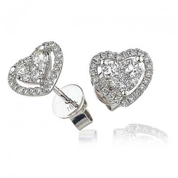 Diamond Heart Stud Earrings 0.65ct, 18k White Gold