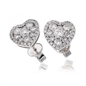 Diamond Heart Stud Earrings 1.45ct, 18k White Gold