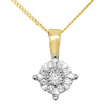 Diamond Illusion Pendant 0.18ct (0.75ct Look), 9k Gold