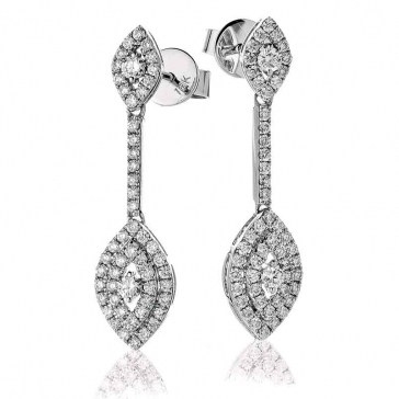 Diamond Marquise Shape Drop Earrings 0.80ct, 18k White Gold