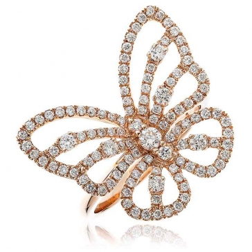 Diamond Pave Butterfly Ring 0.90ct, 18k Rose Gold